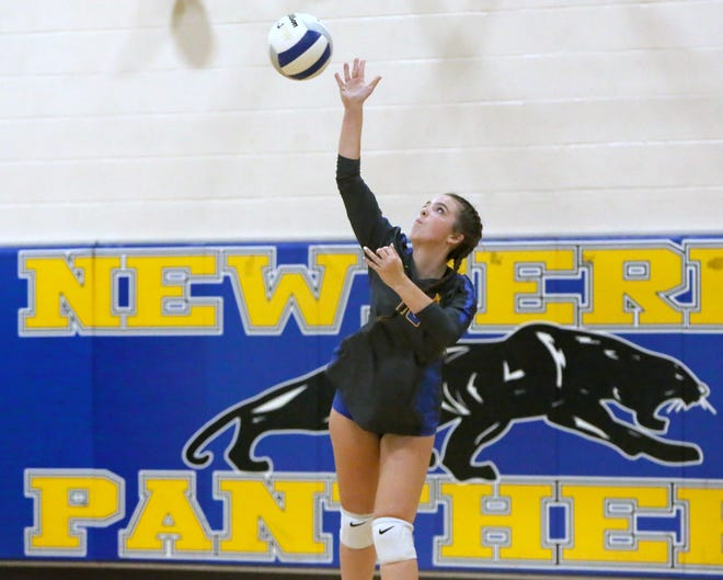 Newberry High's Sydney Bryant serves Tuesday against Fort Meade in a Class A regional semifinals in Newberry. The Panthers won in straight sets 3-0 to advance in the playoffs.
