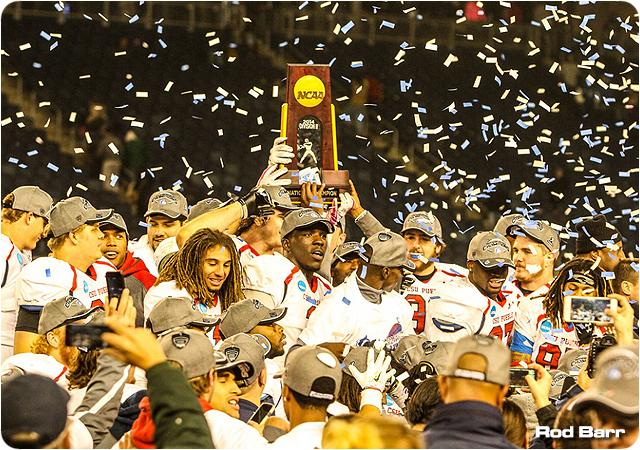 The Colorado State University Pueblo football team celebrates its 2014 NCAA Division II national championship in Kansas City. [Courtesy photo/D2.com