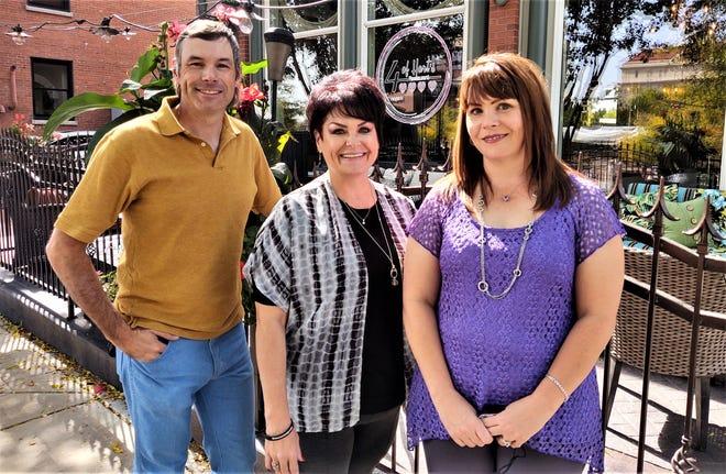 From left, Jarett Hart, Jennifer Priest and Megan Cordova, partners in the 4 of Hart's restaurant, 102 S. Union Ave., on the Riverwalk.