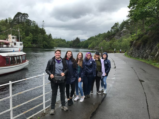 Westerville students (from left) Olivia Stacey, Keely Leach, Kayley Covert, Reina Hershner, Michaela Fitzgerald and Josephine Stumpf visit Loch Katrine in the Trossachs National Park near Stirling, Scotland, in June 2019.