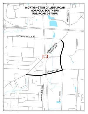 An approximately ½-mile section of Worthington Galena Road between Highland Avenue and East Wilson Bridge Road will close to vehicles from Friday, Oct. 29, to Friday, Nov. 6, because of surface repairs scheduled on the nearby railroad tracks.