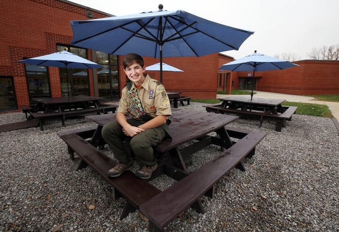 Hilliard Davidson High School senior Kevin Bray built an outdoor learning area at Norwich Elementary School, his elementary alma mater, for his Eagle Scout project.