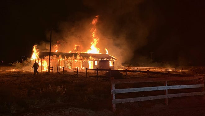 Firefighters responded to a structure fire at the corner of Meridian and Rabbit Spring roads late Monday night, Oct. 26, 2020, in Lucerne Valley.