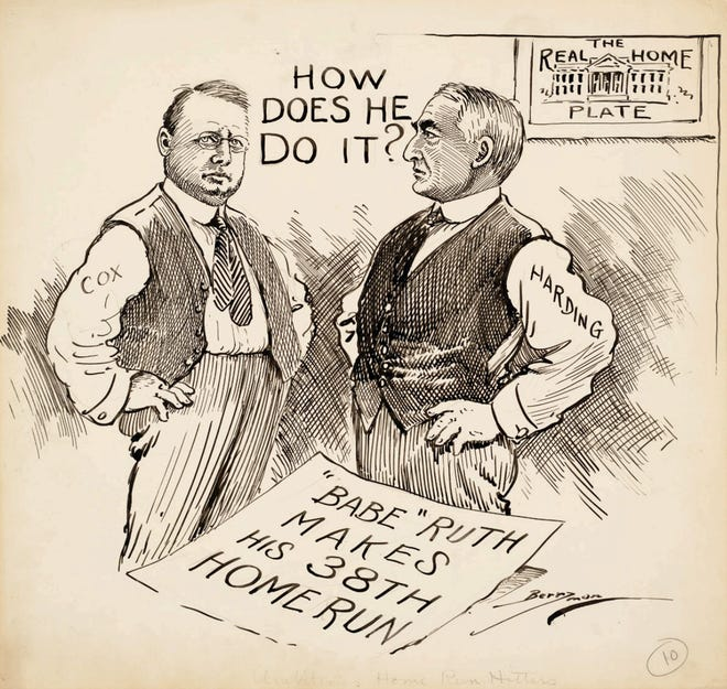 """""""Ambitious Home Run Hitters"""": A cartoon by Clifford K. Berryman of the Washington Star, Aug. 3, 1920, depicting presidential candidates James M. Cox and Warren G. Harding envious of Babe Ruth's home runs."""