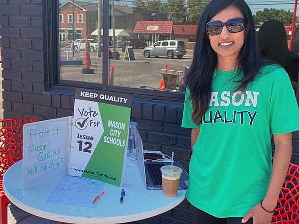 Lina Patel, a co-chairwoman of Mason For Kids, worked to pass last April's 9.96-mill phased in levy and is working with the group to urge voters to vote no on nine school levy reduction issues on Tuesday's ballot.