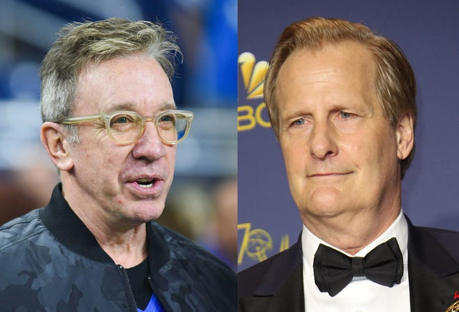 """Left, Television actor Tim Allen stands on the sidelines before the game between the Detroit Lions and the Minnesota Vikings on Thanksgiving at Ford Field. Right, Jeff Daniels poses with his award for Supporting Actor in a Limited Series or a Television Movie for """"Godless"""" in the photo room during the 70th Emmy Awards at the Microsoft Theater."""
