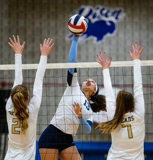 Great Falls High's Allison Harris spikes in Tuesday's volleyball match against Billings West.
