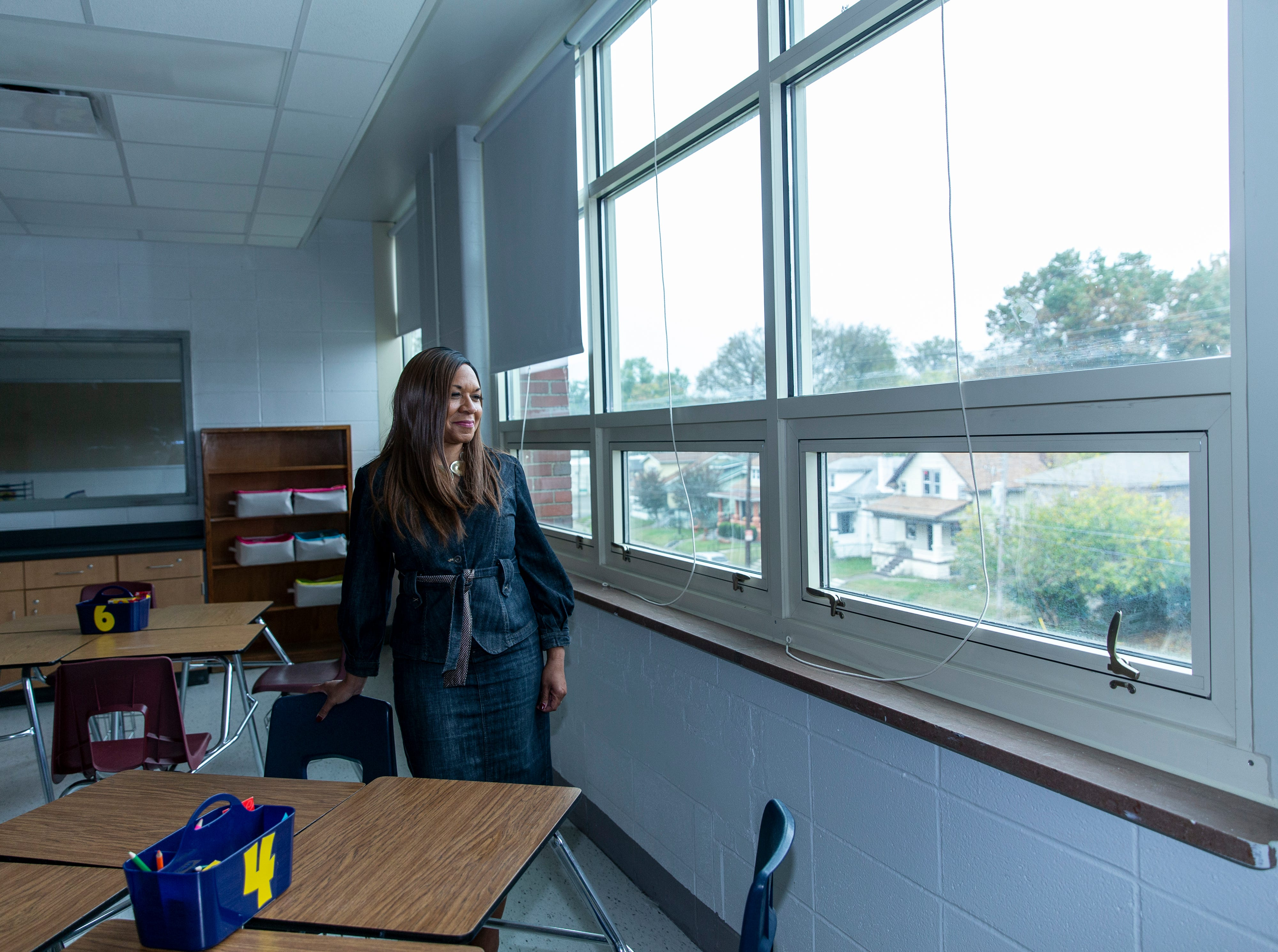 Kym Rice is the principal at the Academy @ Shawnee in west Louisville. She is seen in one of the renovated classrooms at the high school.