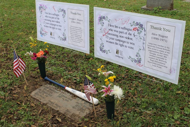 These signs at Eastern Cemetery mark the graves of suffragists Alice Nugent, who was a long-time teacher at Louisville Colored Schools, and Georgia A. Nugent, the first president of the Kentucky Association of Colored Women's Clubs.
