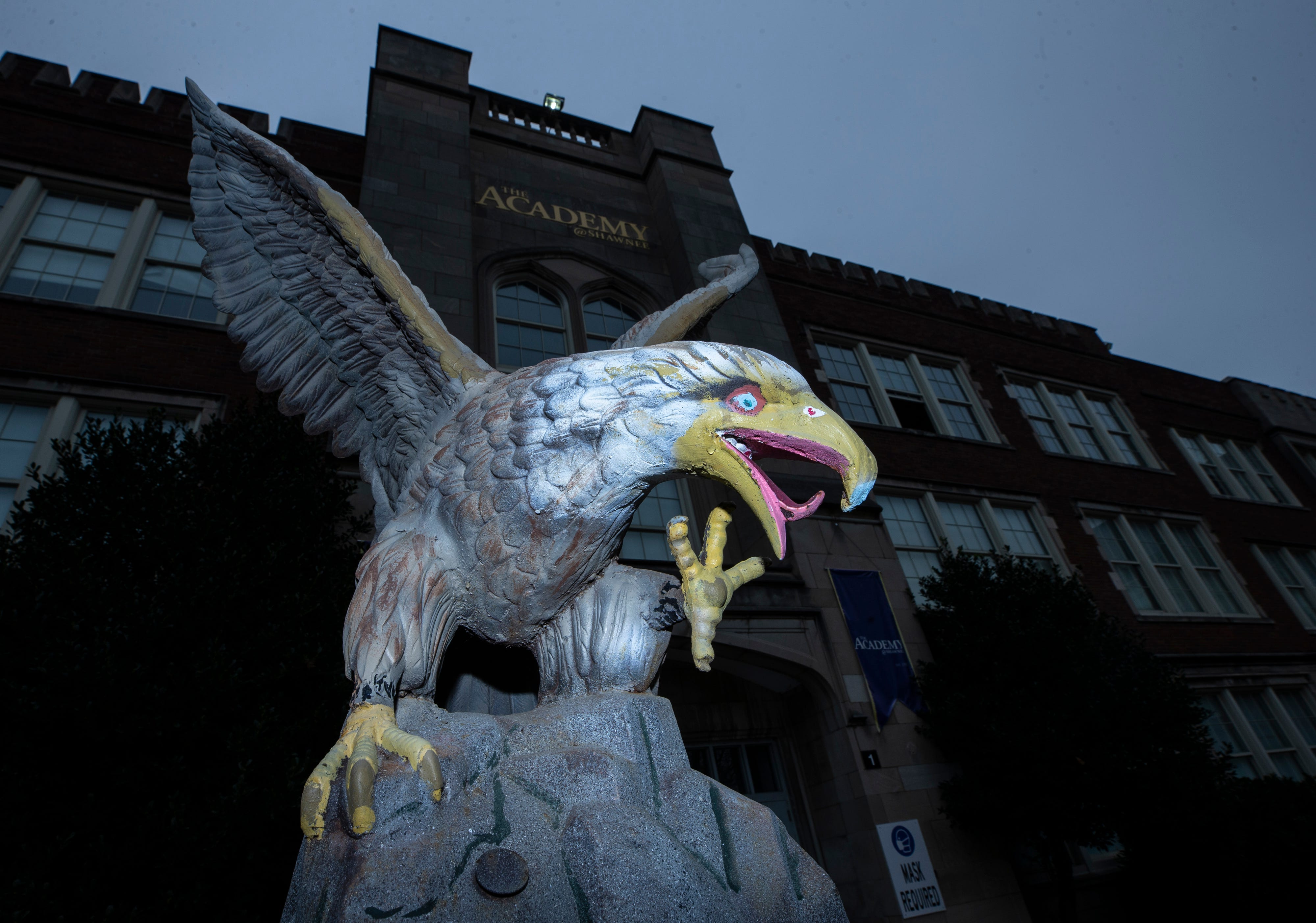 The golden eagle mascot greets everyone entering the Academy @ Shawnee in west Louisville.