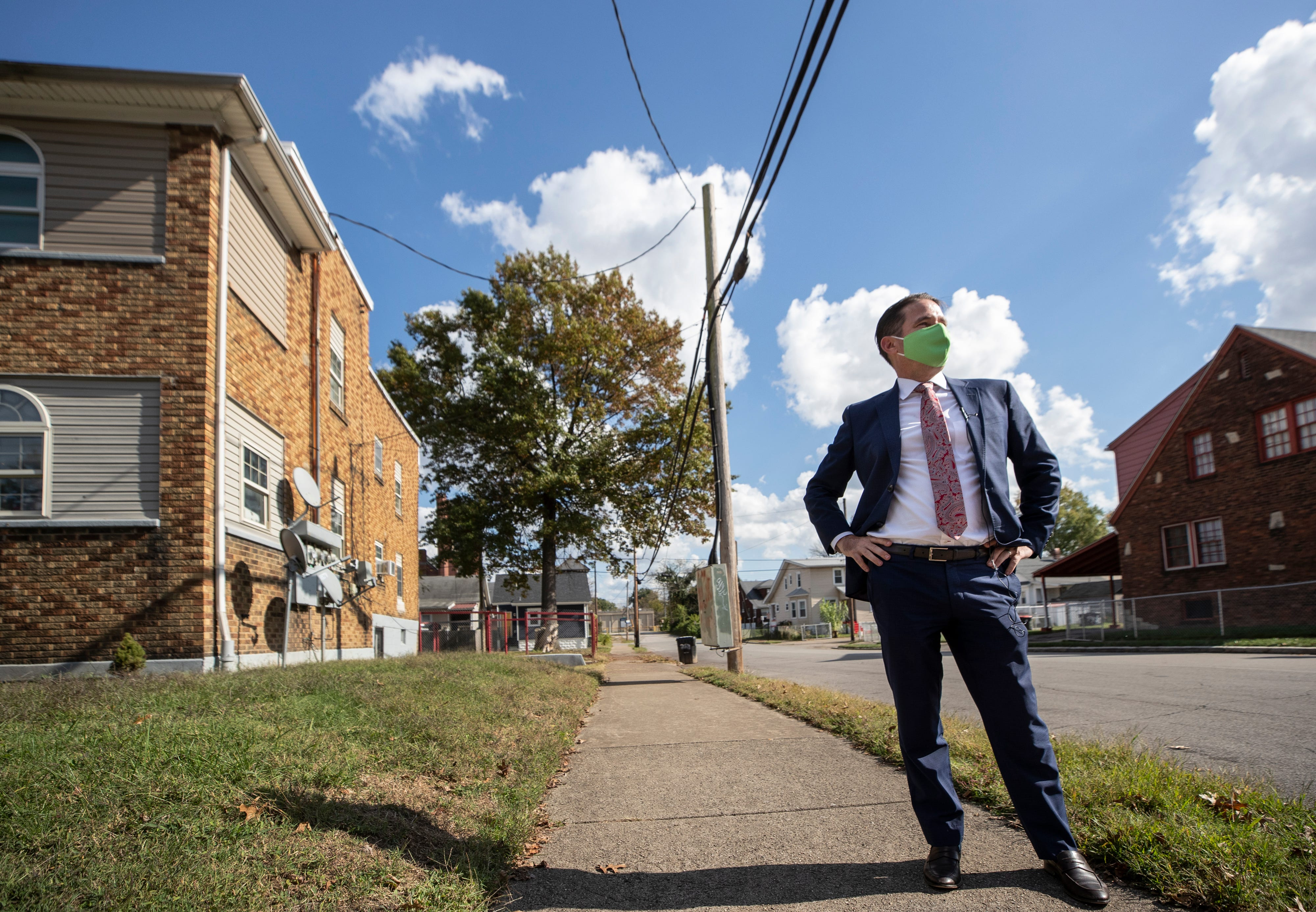 JCPS Superintendent Marty Pollio looks over the neighborhood at the corner of Cecil Avenue and Herman Street near the Academy @ Shawnee, where he was once a teacher, on Oct. 22, 2020.