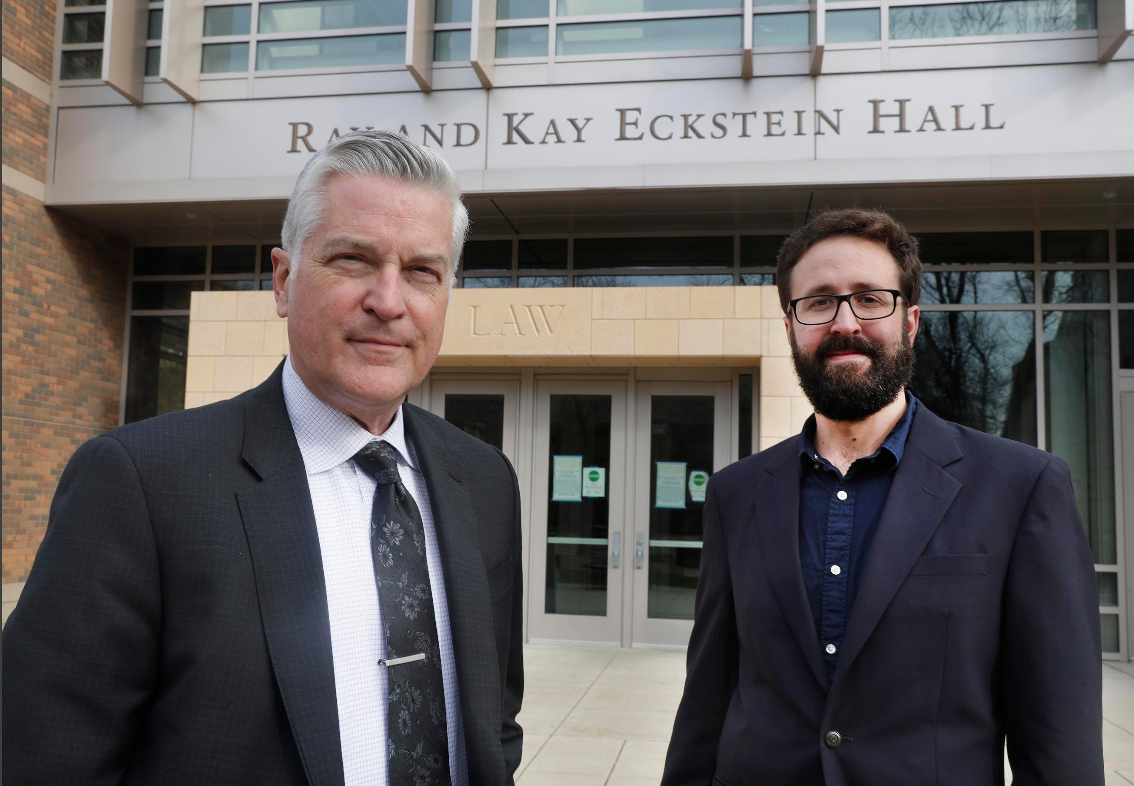 Mike Gousha, left, distinguished fellow in law and public policy, and John D. Johnson, research fellow at the Marquette Law School.