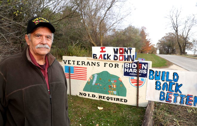 "Theodore Poull, 71, a Vietnam veteran, set up a trail cam to see who was knocking down his ""Veterans for Biden"" sign."