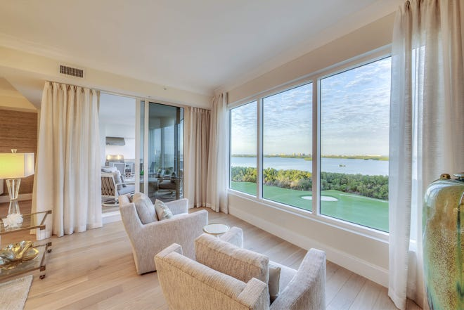 The furnished move-in ready 905-residence at The Ronto Group's completed 27-floor, 120-unit Seaglass high-rise tower at Bonita Bay features furnishings selected by Robb & Stucky's Cynthia Bradford, Designer, ASID.