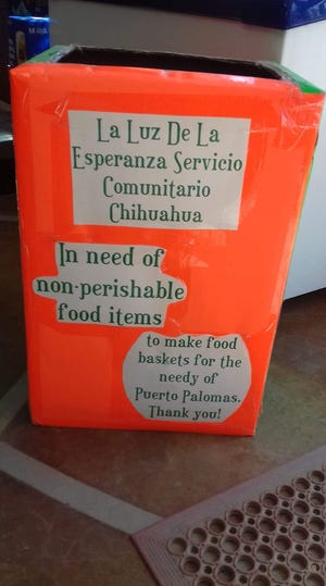 This donation box sits at San Jose Grocery Store in Columbus, NM. Esperanza Loyoza and La Luz de Esperanza Community Kitchen in Palomas, Chih. Mexico is seeking donations of non-perishable food items to support free take-home meals for the elderly and disabled across the border. A donation box is also located at Peppers Supermarket in Deming, NM.