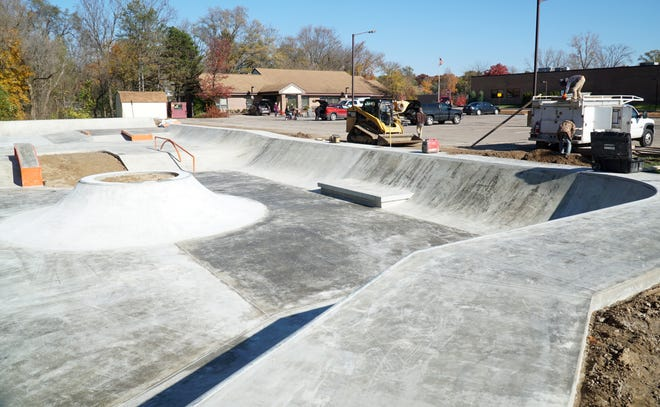Work continues Oct. 28, 2020, at the Village of Milford's skate park at Fairgrounds Park, located just southwest of the village offices off Huron, opened to the public that evening.