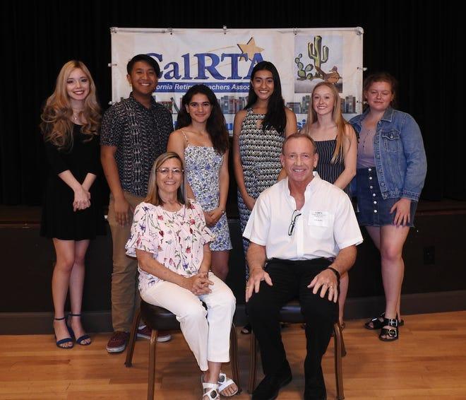 Terry Ceja and Ken Blake (front row) presented CalRTA scholarships to Vanessa Mendivil, Evan Diaz, Mikaela Seja, Juliana Gaytan, Erin Morden and Marguerite Wallis in 2019.