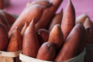 Organic sweet potatoes from Worden Farm in Florida.