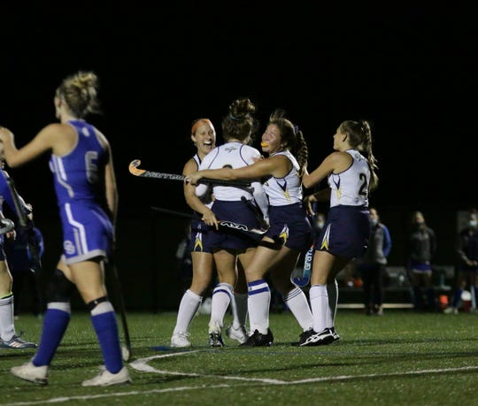 The Elco field hockey team celebrates its lone goal in Tuesday night's 2-1 overtime loss to Garden Spot in a Lancaster-Lebanon League play-in game at Cocalico.