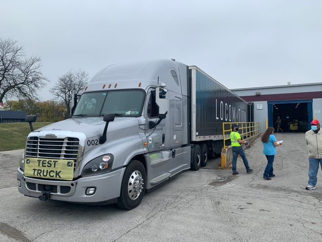 Locomation, a trucking company that uses automated self-driving technology, traveled across much of northwest Ohio via the turnpike to make a grocery delivery to the Toledo Northwestern Ohio Foodbank.