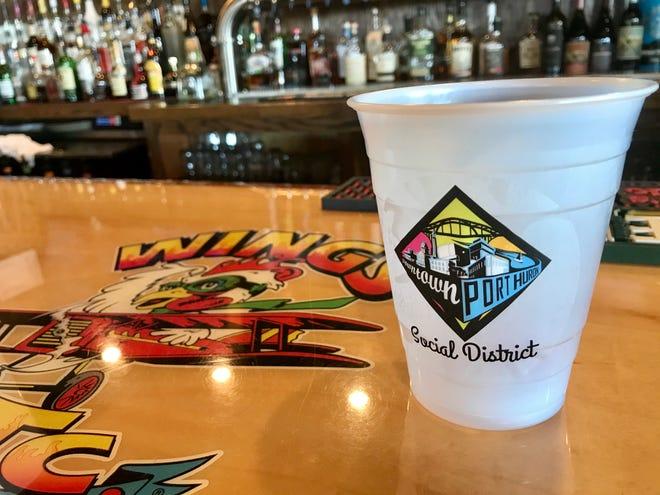 One of the Wings Etc. cups designated for Port Huron's social district.