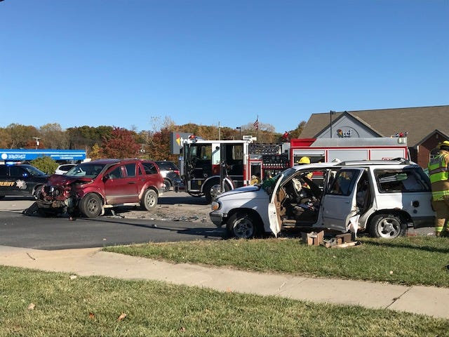 Two people were sent to the hospital following a two-vehicle traffic crash in Fort Gratiot Township Wednesday, Oct. 28, 2020.