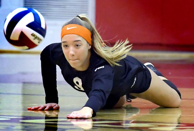 York Suburban's Eliana Rodgers dives in vain for a return against host Susquehannock in girls' volleyball Tuesday, Oct. 27, 2020. Bill Kalina photo