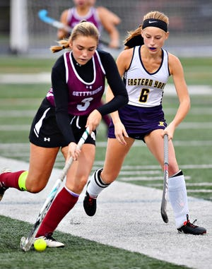 Eastern vs Gettysburg during field hockey action at Eastern York Senior High School in Lower Windsor Township, Wednesday, Oct. 28, 2020. Eastern would win the game 2-1. Dawn J. Sagert photo