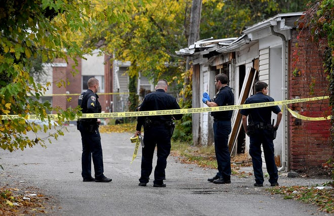 A person was shot in Dalton Alley about 12:30 p.m. Wednesday, Oct. 28, 2020, York City Police said. The alley is across the street from McKinley K-8 school, but a school spokesperson said students were learning from home that day and not in school. (John A. Pavoncello photo)