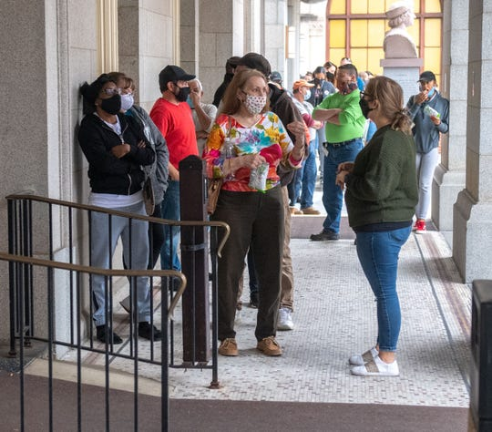 Yorkers stand in long lines at the York County Administrative Center to vote in this year's election, Tuesday October 27, 2020.