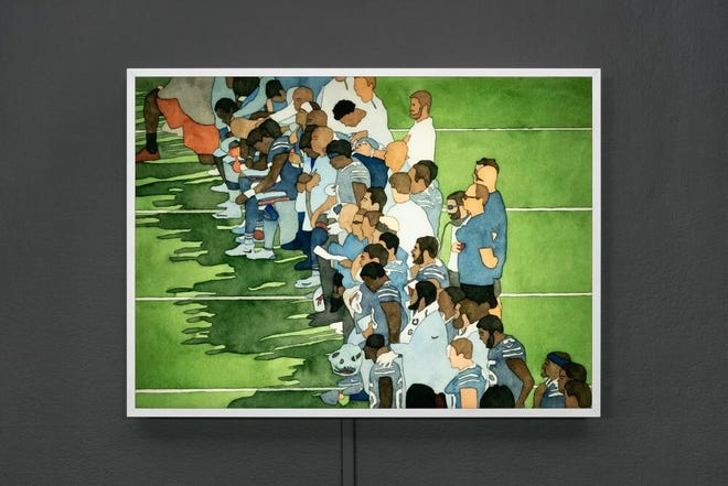 "The Buffalo Bills during National Anthem - part of the Kota Ezawa ""National Anthem"" art exhibit."