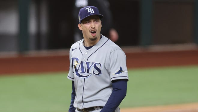 Tampa Bay starter Blake Snell was not happy about being removed from Game 6 of the World Series