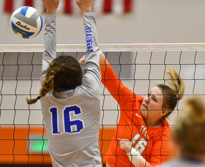 Tech's Hallie Christiansen tries for a kill during the game against Brainerd Tuesday, Oct. 27, 2020, at Tech High School St. Cloud. Like the St. Cloud school district, the Anoka-Hennepin district decided to allow sports to continue competitions despite classes going to distance learning.