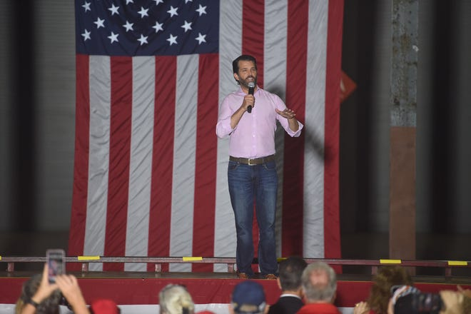 Donald Trump Jr. takes the stage rallying the crowd from the Treasure Coast and beond on Wednesday, Oct. 28, 2020, at the Indian River County Fairgrounds near Vero Beach.