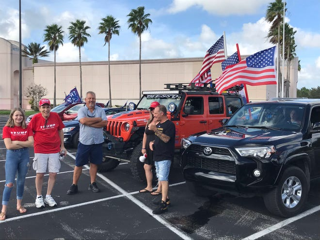 "A group of Donald Trump supporters called ""Freedom Ride VB"" gathered at the Indian River Mall ahead of the campaign event with Donald Trump Jr. on Wednesday, Oct. 28, 2020, at the Indian River County fairgrounds."
