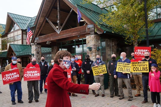 U.S. Sen. Susan Collins R-Maine, made a stop outside the Kittery Trading Post to talk with supporters on Oct. 27, 2020 in Kittery, Maine.