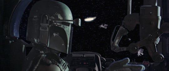 """Boba Fett pursues the Millennium Falcon in """"The Empire Strikes Back."""""""