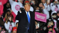 President Donald Trump speaks during a campaign rally on October 27, 2020 in Omaha, Nebraska. With the presidential election one week away, candidates of both parties are attempting to secure their standings in important swing states.