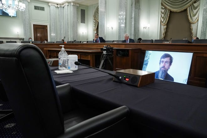 Twitter CEO Jack Dorsey testifies remotely during a Senate Commerce, Science, and Transportation Committee hearing with Big Tech companies. The committee discussed reforming Section 230 of the Communications Decency Act.