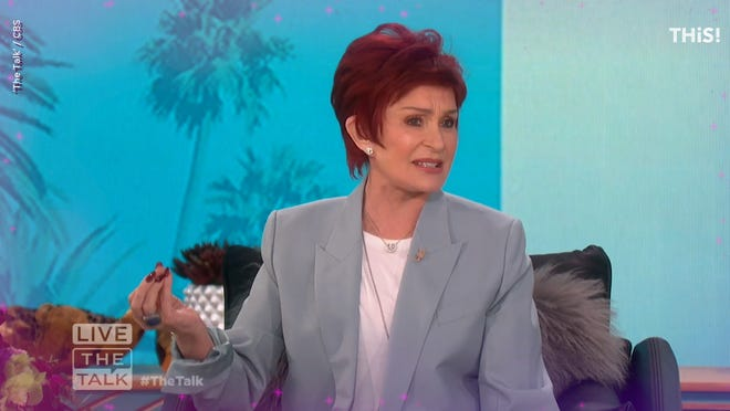 "Sharon Osbourne is pictured during an episode of ""The Talk."""