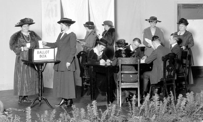 Ohio women learn to vote at the National Cash Register Co. in Dayton on Oct. 27, 1920. The 19th Amendment to the U.S. Constitution had been ratified in August.