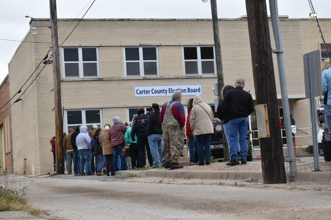 Carter County voters line up to cast ballots on the first day of early voting Thursday.