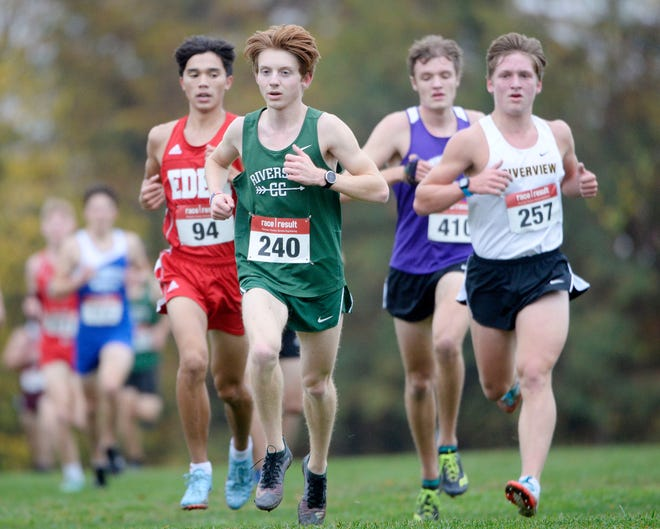 Riverside's Colby Belczyk competes during the Class A boys WPIAL Cross Country Championships Wednesday at White Oak Park. He placed fifth in the race.