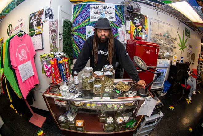 NJ Weedman, aka activist Ed Forchion is photographed at his store  Weedman's Joint, in Trenton, N.J. Tuesday, October 20, 2020. Forchion, openly sells marijuana (and mushrooms) at his store front directly across from city hall. What the self-described Robin Hood of Reefer is doing is blatantly illegal, but he dares law enforcement to arrest him. (Jose F. Moreno)