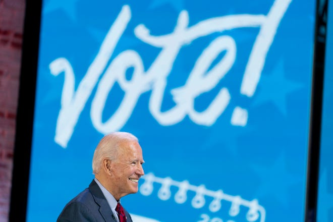 "Democratic presidential candidate former Vice President Joe Biden appears on a ""Zoom with Oprah Winfrey"" virtual show at The Queen theater in Wilmington, Del., Wednesday, Oct. 28, 2020. (AP Photo/Andrew Harnik)"