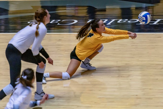 Missouri's Emily Brown (4) keeps a rally alive with a dig against Kentucky on Oct. 28 at the Hearnes Center.