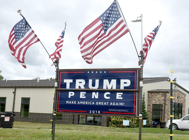 A President Trump sign that was destroyed by vandals at Creekside Pet Center at 5820 East Highway 63 in July is back up — with an electric fence around it — to discourage vandals.