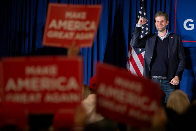 Eric Trump addresses supporters of his father, President Donald Trump, at an event Wednesday evening at the Boathouse restaurant in Columbus.
