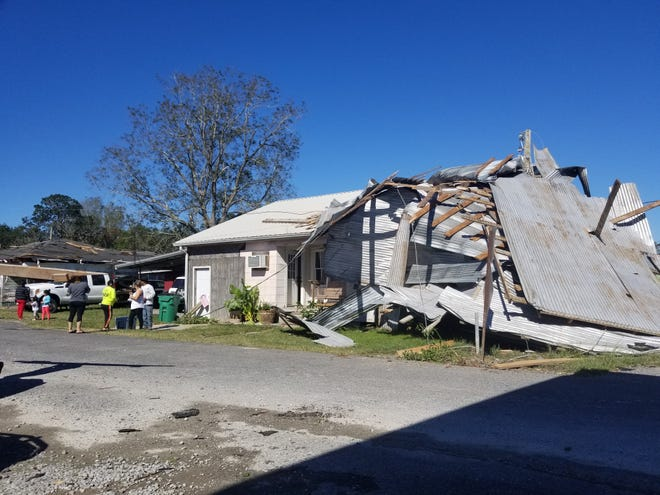 Damage is shown Oct. 29 in Golden Meadow, the day after Hurricane Zeta made landfall in Cocodrie.