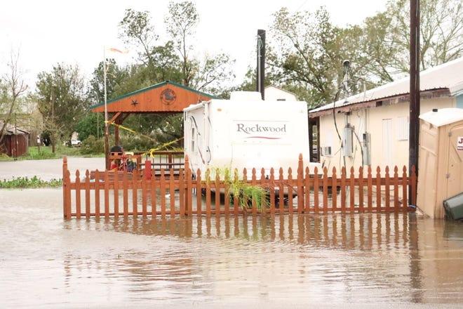 Water rises in Montegut Wednesday during Hurricane Zeta.